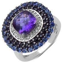 3.05 Carat Genuine Multi-Gems and 0.15 ct.t.w Genuine Diamond Accents Sterling Silver Ring
