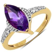 14K Gold Plated 1.45 ct. t.w. Amethyst and White Topaz Ring in Sterling Silver
