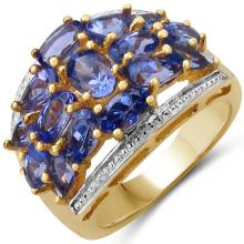 14K Yellow Gold Plated 3.62 Carat Genuine Tanzanite .925 Sterling Silver Ring