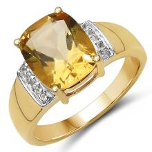 14K Yellow Gold Plated 2.65 Carat Genuine Citrine & White Topaz .925 Sterling Silver Ring