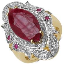 14K Yellow Gold Plated 8.00 Carat Dyed Ruby Ring with 1.00 ct. t.w. Multi-Gems in Sterling Silver