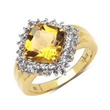 14K Yellow Gold Plated 3.58 Carat Genuine Citrine & White Topaz .925 Sterling Silver Ring