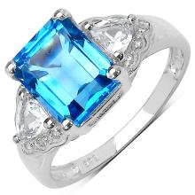3.20 ct. t.w. Swiss Blue Topaz and White Topaz Ring in Sterling Silver