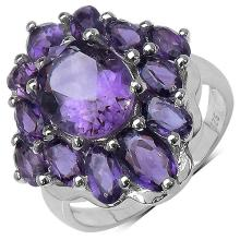 14K Yellow Gold Plated 5.11 Carat Genuine Amethyst .925 Sterling Silver Ring