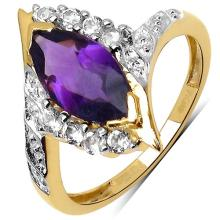 14K Gold Plated 1.67 ct. t.w. Amethyst and White Topaz Ring in Sterling Silver