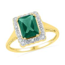 10kt Yellow Gold Womens Emerald Lab-Created Emerald Solitaire Fashion Ring 1 & 3/4 Cttw