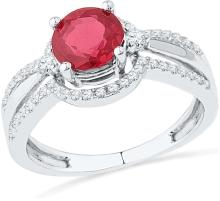 10kt White Gold Womens Round Lab-Created Ruby Solitaire Fashion Ring 2 & 1/12 Cttw