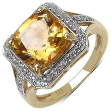 14K Yellow Gold Plated 4.32 Carat Genuine Citrine & White Topaz .925 Sterling Silver Ring