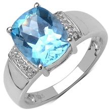 3.50 ct. t.w. Blue Topaz and White Topaz Ring in Sterling Silver