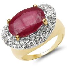 14K Yellow Gold Plated 8.73 Carat Genuine Glass Filled Ruby & White Topaz .925 Sterling Silver Ring