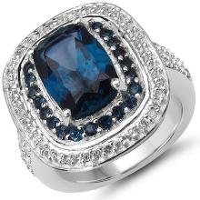 5.25 Carat Genuine London Blue Topaz & White Topaz .925 Sterling Silver Ring