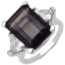 8.80 ct. t.w. Smoky Quartz and White Topaz Ring in Sterling Silver