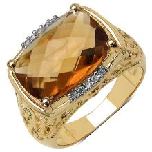 14K Yellow Gold Plated 5.50 ct. t.w. Champagne Quartz and White Topaz Ring in Sterling Silver