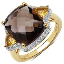 14K Yellow Gold Plated 5.95 Carat Smoky Topaz .925 Sterling Silver Ring