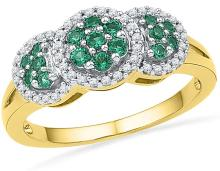 10kt Yellow Gold Womens Round Lab-Created Emerald Diamond Cluster Fashion Ring 3/8 Cttw