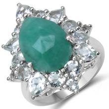 8.43 Carat Genuine Emerald & White Topaz .925 Sterling Silver Ring