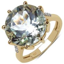 14K Gold Plated 7.60 ct. t.w. Green Amethyst and White Topaz Ring in Sterling Silver