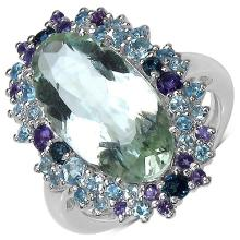 7.46 Carat Genuine Multi Stone .925 Sterling Silver Ring