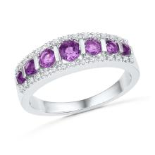 10kt White Gold Womens Round Lab-Created Amethyst Fashion Band Ring 3/4 Cttw