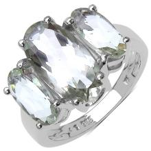 5.80 Carat Genuine Green Amethyst Sterling Silver Ring