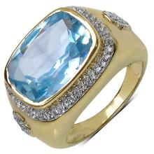 14K Yellow Gold Plated 7.63 Carat Genuine Blue Topaz & White Topaz .925 Sterling Silver Ring