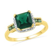 10kt Yellow Gold Womens Princess Lab-Created Emerald Solitaire Fashion Ring 1/5 Cttw