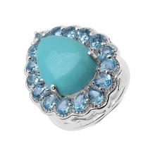 9.00 Carat Turquoise and Swiss Blue Topaz Ring in Sterling Silver