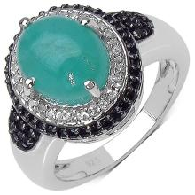3.54 Carat Emerald Ring with 0.66 ct. t.w. Multi-Gems in Sterling Silver