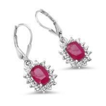 6.76 Carat Genuine Ruby & White Topaz .925 Sterling Silver Earrings