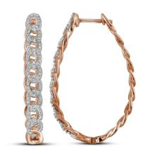 10kt Rose Gold Womens Round Natural Diamond Hoop Fashion Earrings 1/2 Cttw