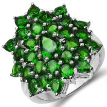 4.80 Carat Genuine Chrome Diopside .925 Sterling Silver Ring