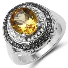 2.92 Carat Genuine Golden Citrine, Champagne Diamond & White Diamond .925 Sterling Silver Ring