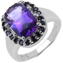3.90 ct. t.w. Amethyst and Black Spinel Ring in Sterling Silver