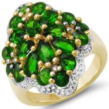 14K Yellow Gold Plated 3.49 Carat Genuine Chrome Diopside & White Topaz .925 Sterling Silver Ring
