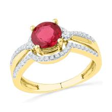 10kt Yellow Gold Womens Round Lab-Created Ruby Solitaire Fashion Ring 2 & 1/12 Cttw