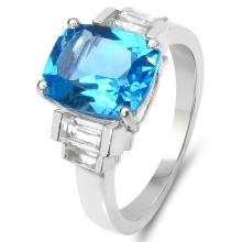 4.36 Carat Genuine Swiss Blue Topaz & White Topaz .925 Sterling Silver Ring