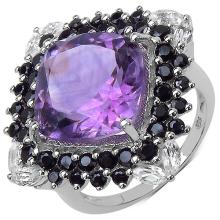 8.66 Carat Genuine Amethyst, White Topaz & Black Spinel .925 Sterling Silver Ring