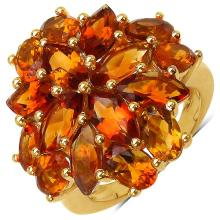 14K Yellow Gold Plated 8.24 Carat Genuine Citrine .925 Sterling Silver Ring
