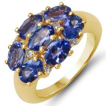 14K Yellow Gold Plated 3.21 Carat Genuine Tanzanite & White Topaz .925 Sterling Silver Ring