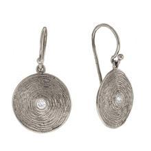 14KT White Earrings Texture Plates