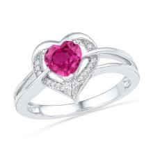 10kt White Gold Womens Round Lab-Created Ruby Heart Love Fashion Ring 1 & 1/20 Cttw