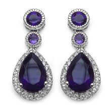 7.10 ct. t.w. Amethyst and White Topaz Earrings in Sterling Silver