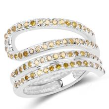 0.74 Carat Genuine Yellow Diamond .925 Sterling Silver Ring