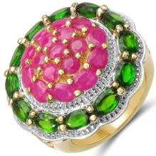 14K Yellow Gold Plated 5.78 Carat Genuine Chrome Diopside & Ruby .925 Sterling Silver Ring