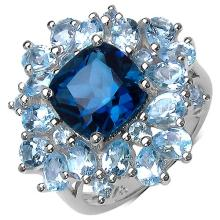 7.20 ct. t.w. London Blue Topaz and Blue Topaz Ring in Sterling Silver