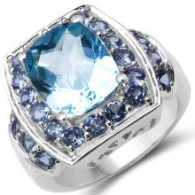 5.73 Carat Genuine Tanzanite & Blue Topaz .925 Sterling Silver Ring