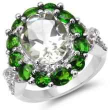 5.48 Carat Genuine Green Amethyst, Chrome Diopside & White Topaz .925 Sterling Silver Ring