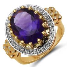 14K Yellow Gold Plated 5.17 Carat Genuine Amethyst & White Topaz .925 Sterling Silver Ring