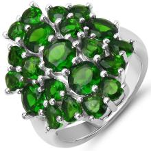 5.30 Carat Genuine Chrome Diopside .925 Sterling Silver Ring