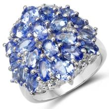 5.64 Carat Genuine Tanzanite & White Topaz .925 Sterling Silver Ring